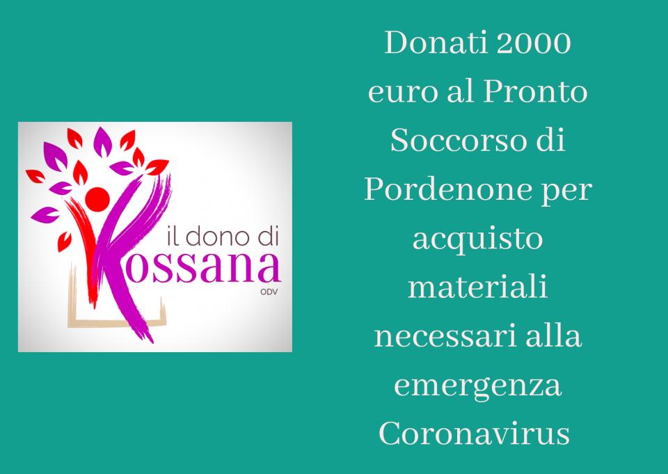 Donati 2000 euro per l'emergenza Coronavirus