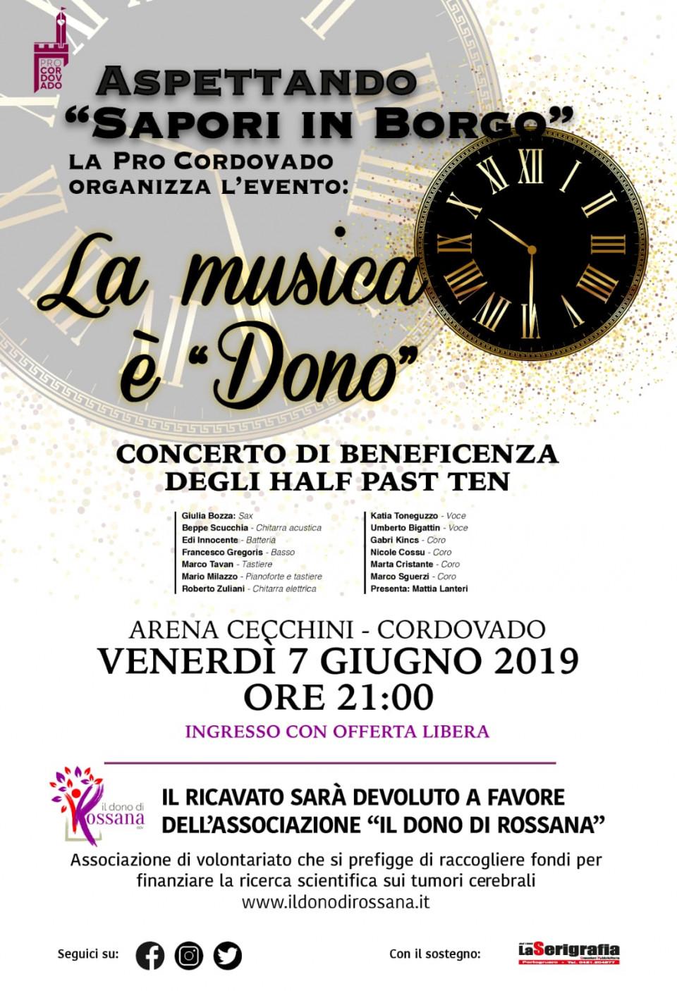 """Gli HALF PAST TEN band in concerto per """"Il dono di Rossana"""""""