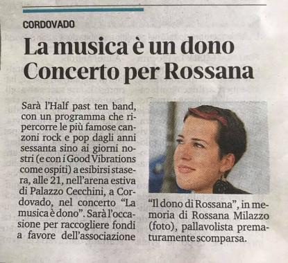 La musica è dono, concerto per Rossana - Rassegna stampa