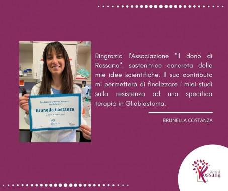 Individuato un nuovo progetto sostenuto dall' Associazione per combattere i tumori cerebrali: la borsa di ricerca della dr.ssa Brunella Costanza