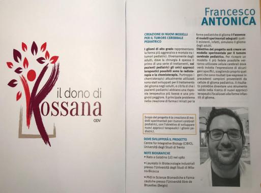Individuato il secondo progetto: sarà una borsa di ricerca a sostegno di Francesco Antonica